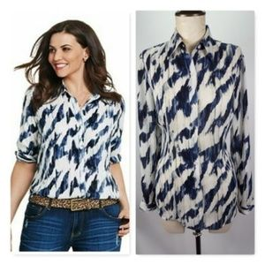 Cabi Sheer Button Front Shirt Print Blouse HW3308